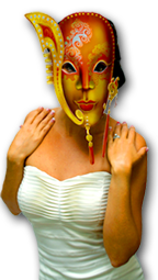 gold and orange venetian mask