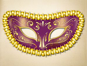 Purple Fancy Masquerade Mask with Gold trim