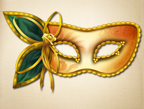 Gold Masquerade Mask with Green Flower