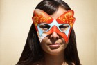 Multi colored red orange and Blue Masquerade Mask