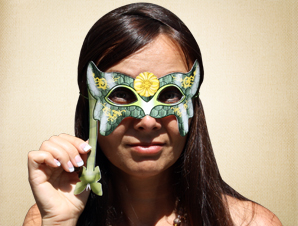 Green and Gold Masquerade Mask