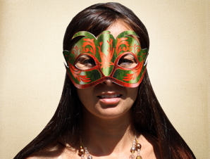 Green and Orange Masquerade Mask