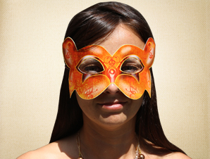 Bright Orange Masquerade Mask