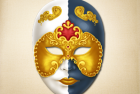 Colorful Venetian Mask with Gold Eye Trim