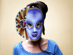 Blue Venetian Mask with Face Fan Detail