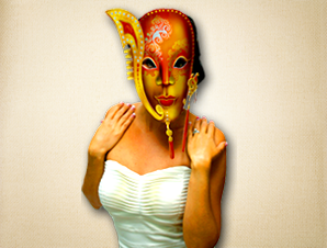 Beautiful Gold and Orange Venetian Mask